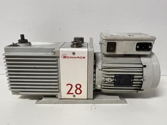Used Edwards E2M28 Rotary Vacuum Pump 21 CFM w/ 1.2 HP Motor 240V