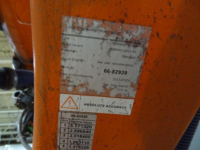 ABB IRB 6640 6 AXIS CNC ROBOT 235KG X 2.55 REACH IRC5 CONTROLS
