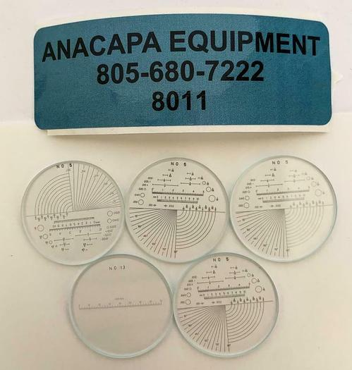 """SPI, 40-085-3 7X Optical Comparator Reticle #5, 1"""" Lot of 5  New (8011)W"""