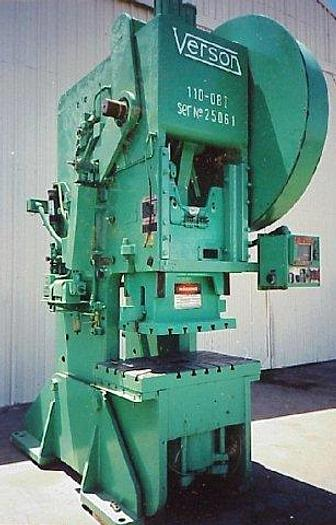 "Used 110 Ton Verson OBI; Hvy. Duty; 27"" x 42"" Bed; 8"" Str.; Roll Feed; Air Cl"