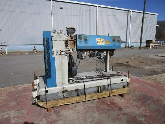 """Used 2.5"""" HPM 24:1 L/D air cooled extruder with 40 hp Blue Max AC motor, S/N 96462, mfg. Feb 1997 stock # 4785-004"""