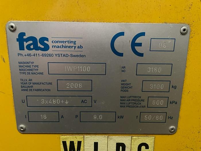 Used Coreless Winder FAS Model  IWP1100 core