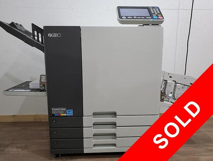 Used Riso ComColor GD7330 Full Color Inkjet Printer with Stacking Tray