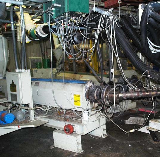 """Used 4.5"""" 30:1 Cincinatti Water Cooled Low Boy Extruder w/200HP DC drive stock # 4750-001"""