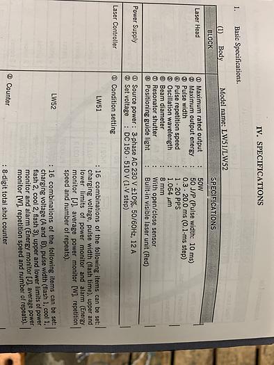 MIYACHI UNITEK LW53 COMPACT YAG LASER