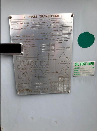 AUCTION Lot#1: Carte 3Ph 3/4 MVA Transformer