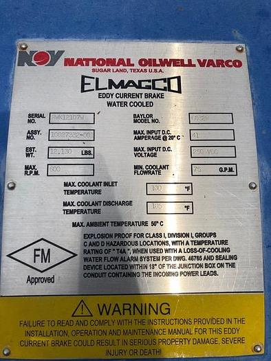 National Oilwell Elmagco 6032W Unused brakes