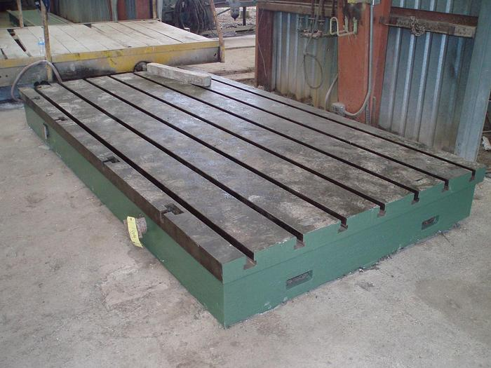 """Used 69"""" x 138"""" Cast Iron T-Slotted Floor Plate; 14"""" Thickness"""