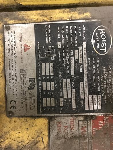 1999 HOIST 20,000 LBS ELECTRIC LIFT TRUCK