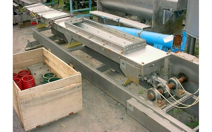 "USED VIBRATORY FEEDER, 11"" WIDE X 126"" LONG, STAINLESS STEEL 304"