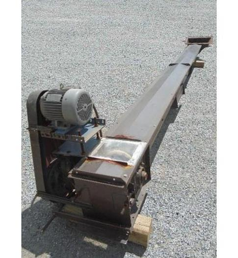 "USED DRAG CONVEYOR, 10"" DIAMETER X 20' LONG, CARBON STEEL"