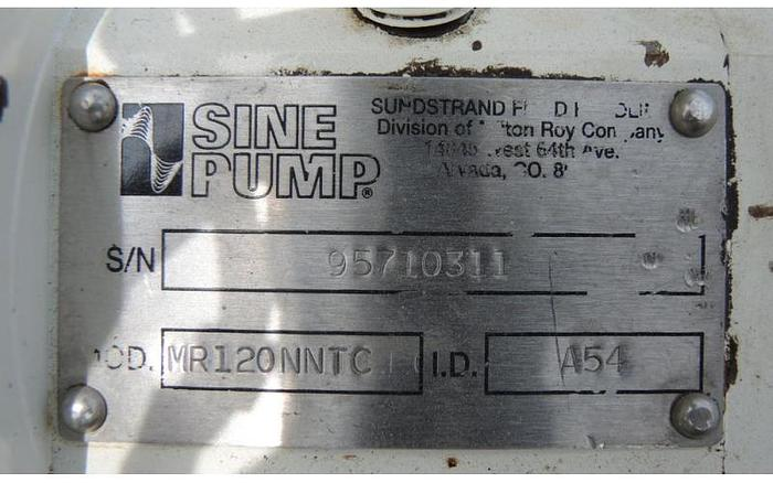 USED SINE POSITIVE DISPLACEMENT PUMP, MODEL MR120, STAINLESS STEEL