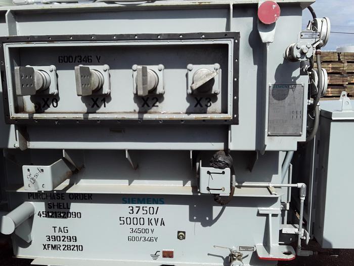 Siemens 5000 KVA 35kv/600v transformer, 6000A output