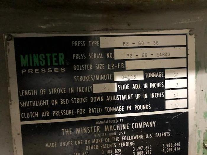 60 Ton, MINSTER, No. P2-60-36, SSDDC PRESS