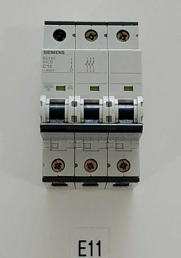 *NEW NO BOX* Siemens 5SY63 MCB C10 Circuit Breaker 3P 400V 10A + Warranty!