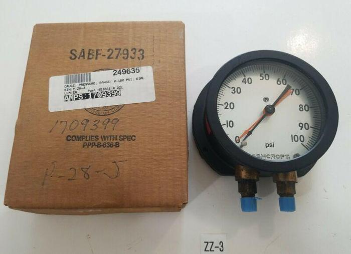 Used *PREOWNED* ASHCROFT 0 - 100 PSI PRESSURE GAUGE Q-8663 BRONZE TUBE BRASS SOCKET