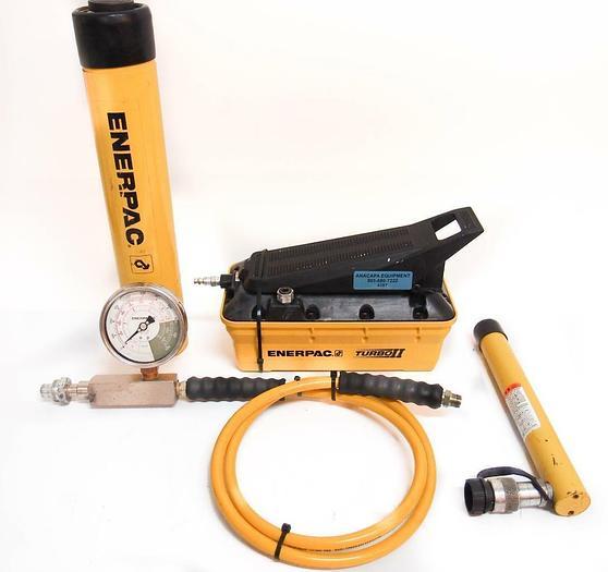 Used Enerpac Turbo II PATG1102N Hydraulic RC59 & RC2514 Gauge GF-20P & WP 700 (4387)