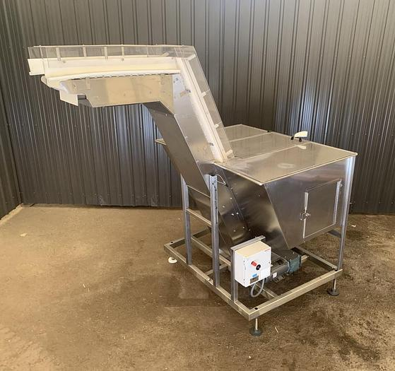 Used USED ELEVATED CLEATED BELT CONVEYOR, 15'' WIDE X 84'' LONG