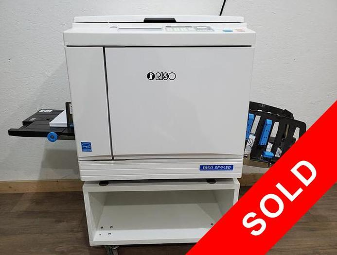 Used Riso SF9450 Digital Duplicator with Network Print, Black Print Cylinder and Stand. Only 383K Meter!