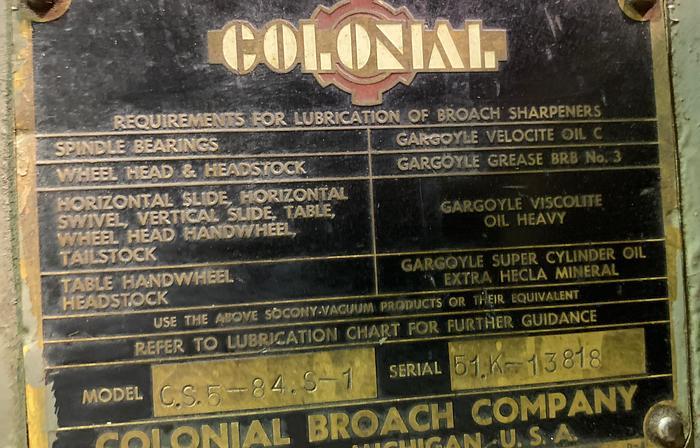 "COLONIAL 84"" ROUND BROACH GRINDER"