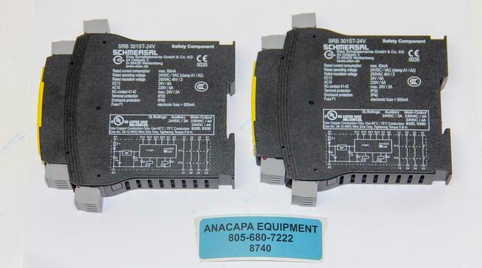 Used Schmersal Protect SRB301 ST, SRB 301ST-24V Safety Relay Lot of 2 (8740)W