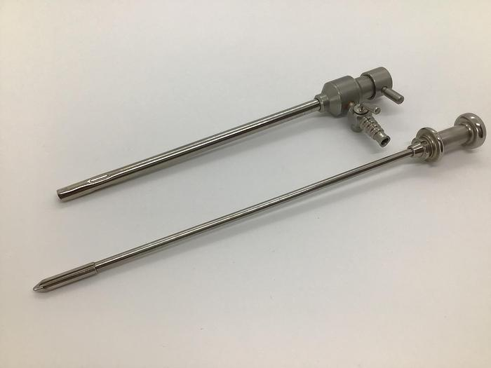 Used Trocar and Sheath 4mm Diameter Valve with one Luer Lock Stopcock by 220mm (8-3/4in)