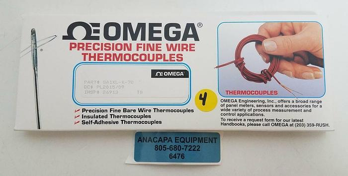 Omega Precision Fine Wire Thermocouples SA1XL-K-72 NEW Pack of 4 (6476)