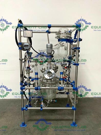 Used De Dietrich Distillation Skid w/ 16 Liter Jacketed Glass Reactor & Mixer