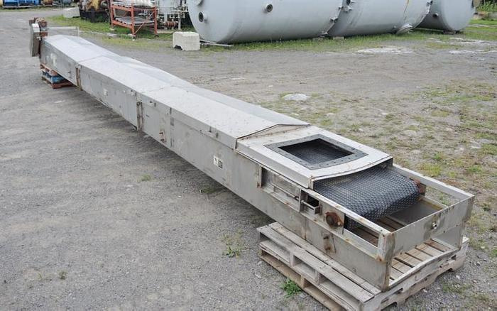 "USED BELT CONVEYOR, 29.5"" WIDE X 378"" LONG, STAINLESS STEEL"