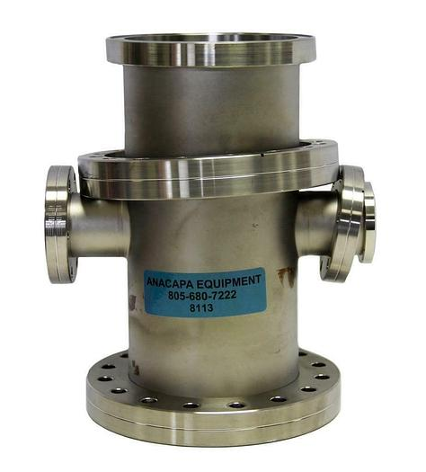 """Used Nor-Cal 4-Way ConFlat Reducer Cross Fitting 6"""" OD-2.75"""", 4CR-400-150 (8113)W"""