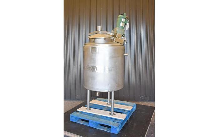 USED 100 GALLON JACKETED TANK, STAINLESS STEEL WITH LIGHTNIN MIXER