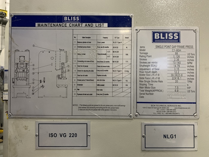 88 ton Bliss Gap Frame Mechanical Press High Speed (NEW)