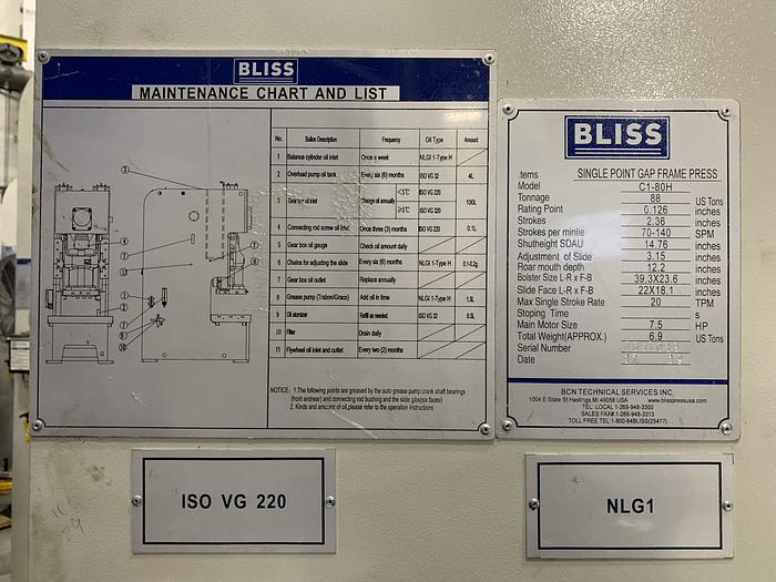 88 ton Bliss Gap Frame Mechanical Press High Speed (NEW In-Stock)