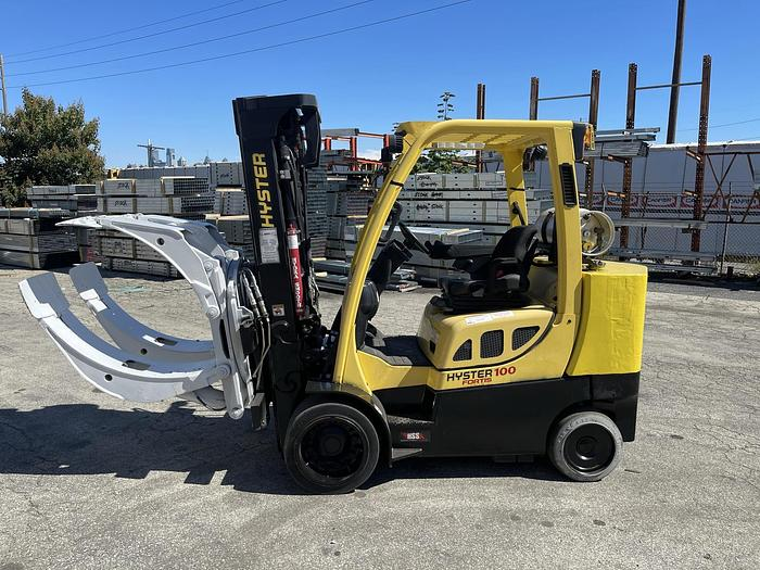 """Used 10,000 POUND HYSTER MODEL S100FTBCS FORKLIFT WITH 64"""" DIAMETER CASCADE CLAMP"""