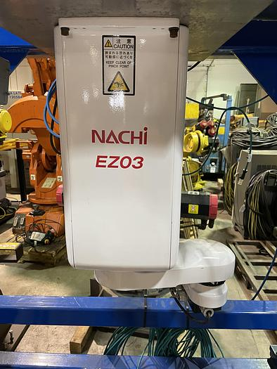 Used NACHI EZ03 INVERTED 4 AXIS SCARA ROBOT MOUNTED IN FABRICATED STAND WITH CONTROLLER
