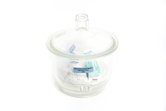 """Used Pyrex 12"""" Desiccator, Desiccant, High Vacuum Grease with Top (5492)"""