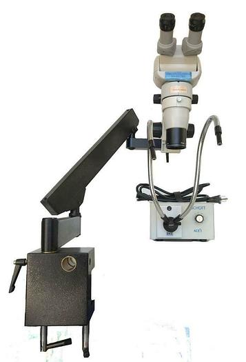 Used Scienscope CMO-BHE Microscope w/ SB-FX-01 Articulating Arm, Light Source (7547)R
