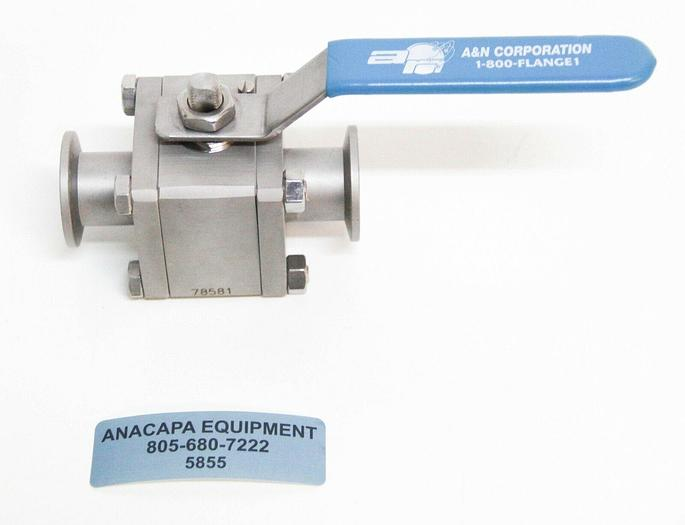 Used A&N Corporation ANCORP High Vacuum Stainless Steel Ball Valve 1.5 OD (5855)