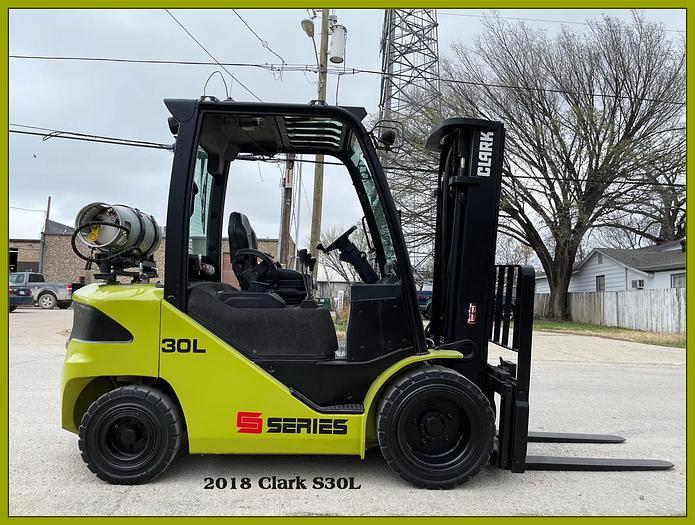 "Used 2018 Clark S30L 6000# Pneumatic Forklift, 3 Stage 189"" Mast, Side Shift"