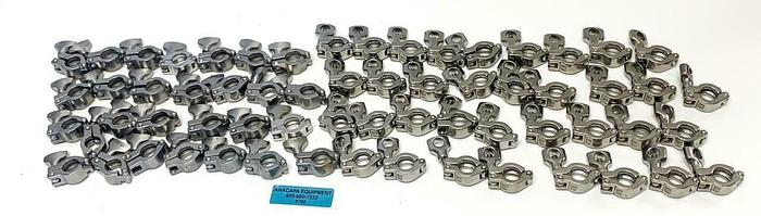 "Used Tri-Clover, Bradford 50-75 1/2""-3/4"" Clamps Stainless Steel Lot of 63 (8788)W"