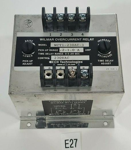 Used *PREOWNED* Wilmar WCT1-230AC-1 Overcurrent Relay .2-1.0A 230 VAC + Warranty!