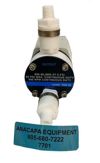 Used Cole Parmer EW-07090-42 PTFE Diaphragm Pump W/ EW-7090-45 Foot Valves X 2 (7701