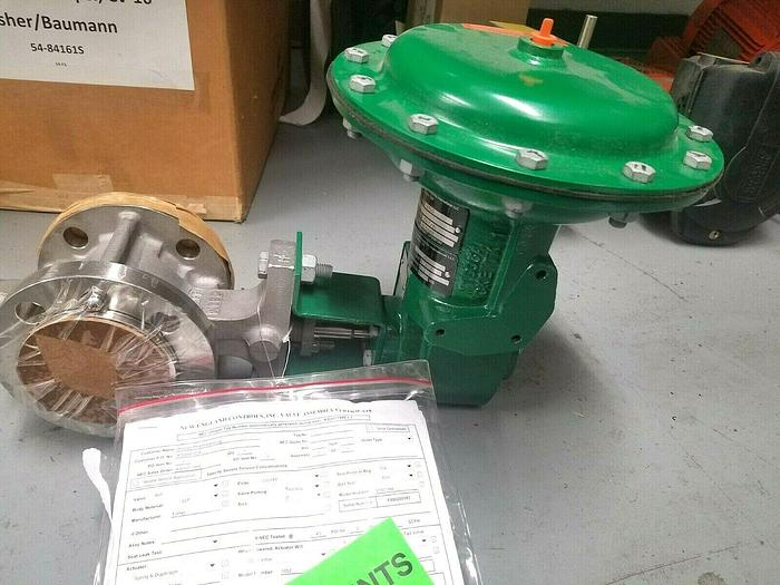 """Used Fisher V150 - 364 2"""" Valve with Actuator 1052 Medical Dairy Stainless Steel"""