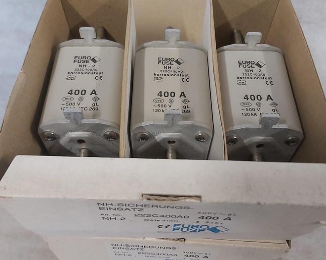 3 Stück NH Sicherungseinsätze Größe 2, 400A, NH-2, Größe 2, 500V, Eurofuse,  neuwertig