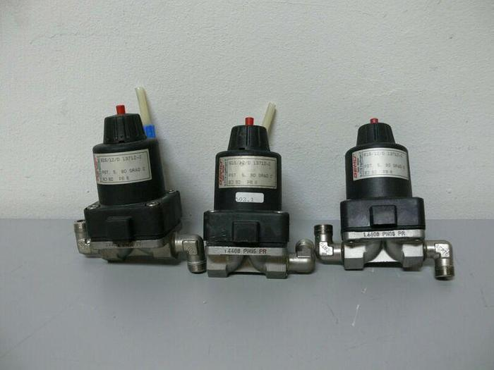 Used Lot of 3 - Gemu 615/12/D PST. 5, 90 Grad C Diaphragm Valves