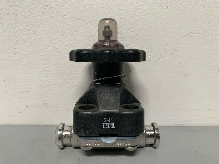 "Used ITT Pure-Flo .75-316L-RA20MAX 2-Way Stainless Steel Diaphragm Valve w/ 3/4"" Fits"