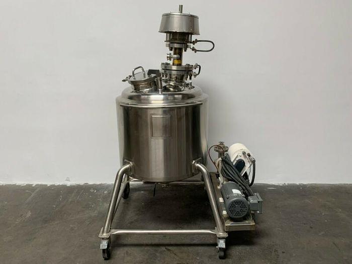 Used Bulling 150 Liter Stainless Steel Jacketed Tank w/ Pulsa 880CIP Metering Pump