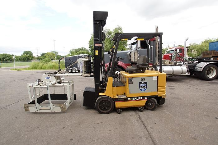 2000 Caterpillar 5000 Lb. Capacity 2 Stage Electric Forklift w/ Cascade Layer Picker