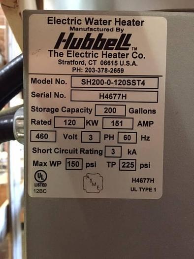 Model SH Hubbell Water Heater Electric Storage Tank Brand New SH-200-0-120SST4