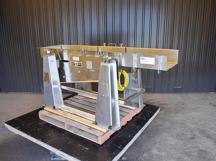 "Used USED FMC FOODTECH VIBRATORY FEEDER, 18"" WIDE X 84"" LONG, STAINLESS STEEL"